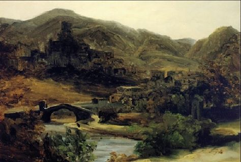 SUBIACO- Theodore Rousseau, una vista di Thiers nel Auvergne, 1830.