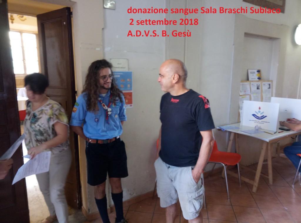 Accoglienza donatori 2-9-18 ADVS B. Gesù Gruppo di Subiaco