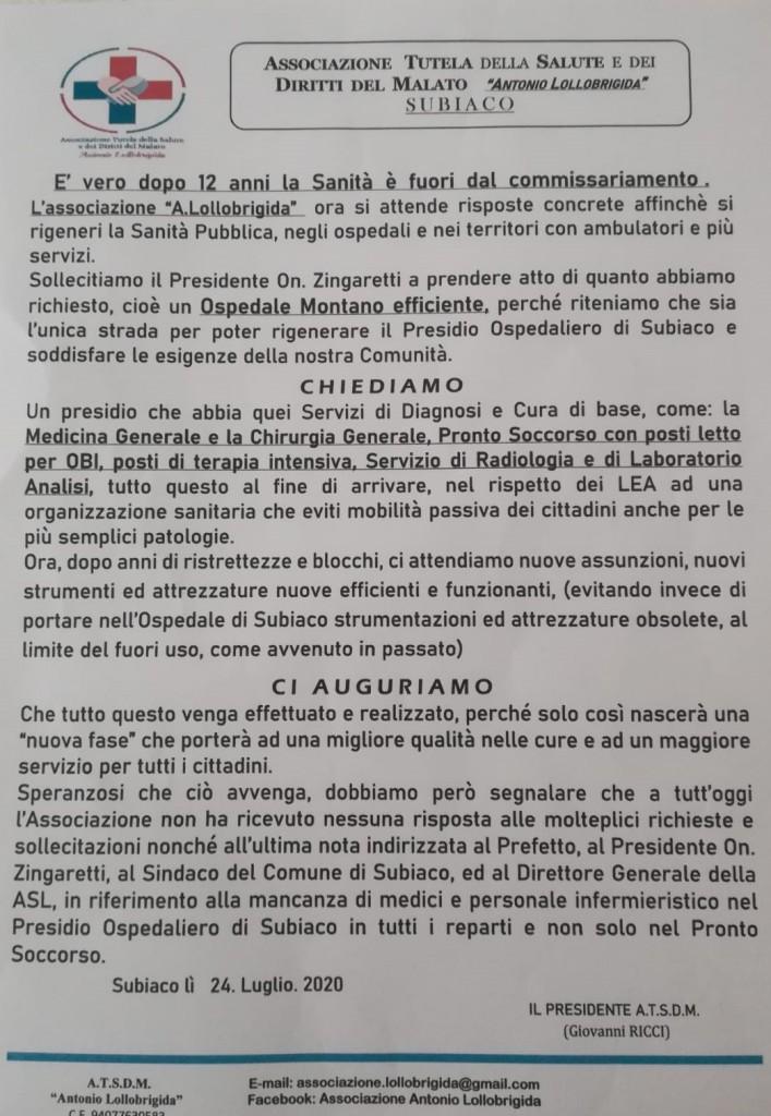 Ospedale Subiaco luglio 2020 richieste associazione gianni Ricci